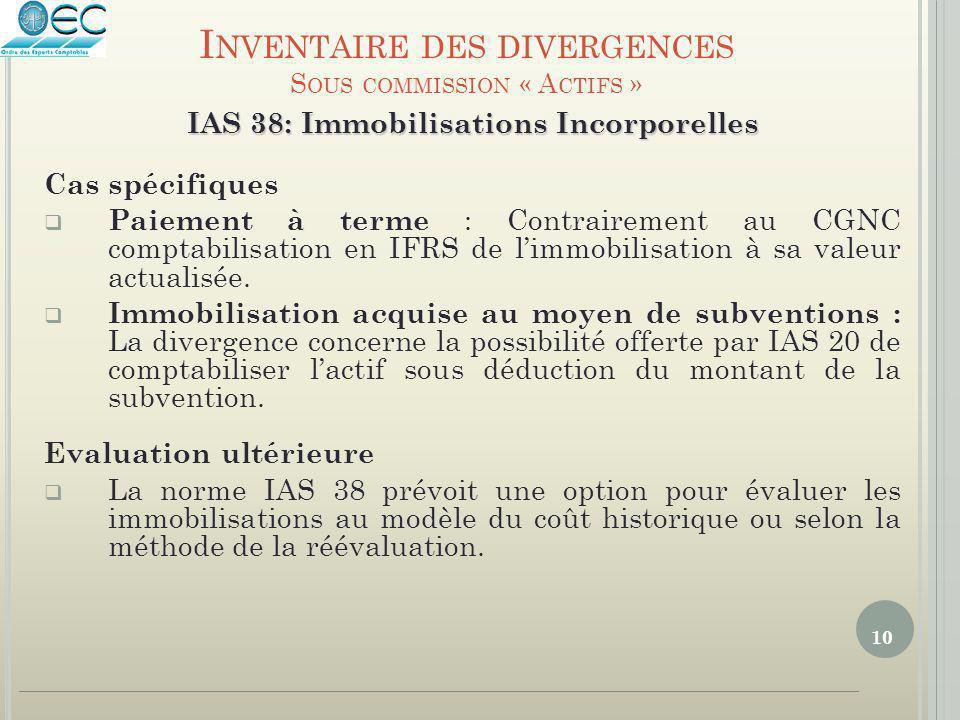 10 IAS 38: Immobilisations Incorporelles Cas spécifiques  Paiement à terme : Contrairement au CGNC comptabilisation en IFRS de l'immobilisation à sa