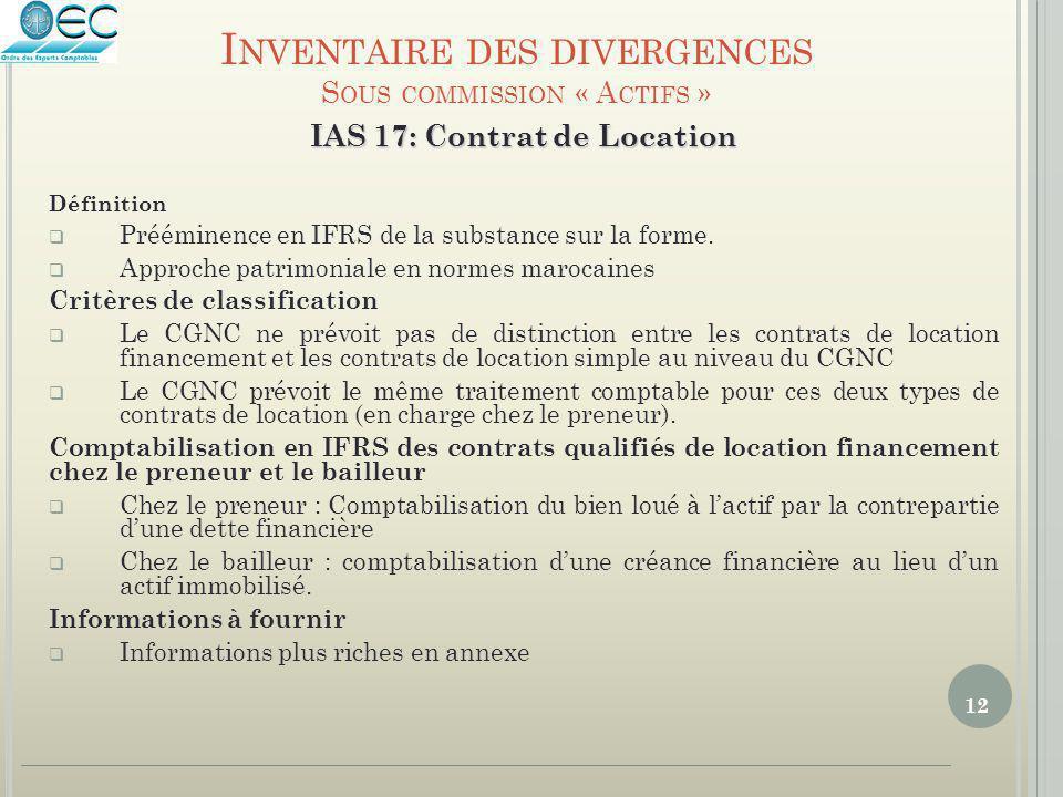 12 IAS 17: Contrat de Location Définition  Prééminence en IFRS de la substance sur la forme.  Approche patrimoniale en normes marocaines Critères de