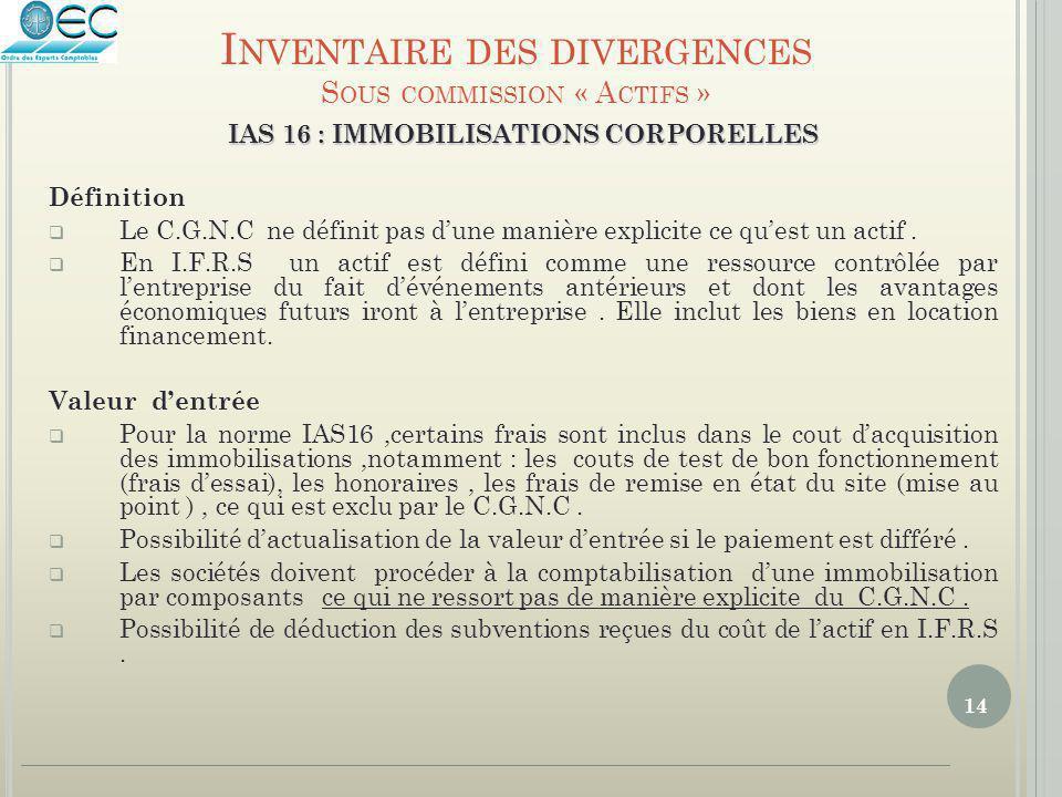 14 IAS 16 : IMMOBILISATIONS CORPORELLES Définition  Le C.G.N.C ne définit pas d'une manière explicite ce qu'est un actif.  En I.F.R.S un actif est d