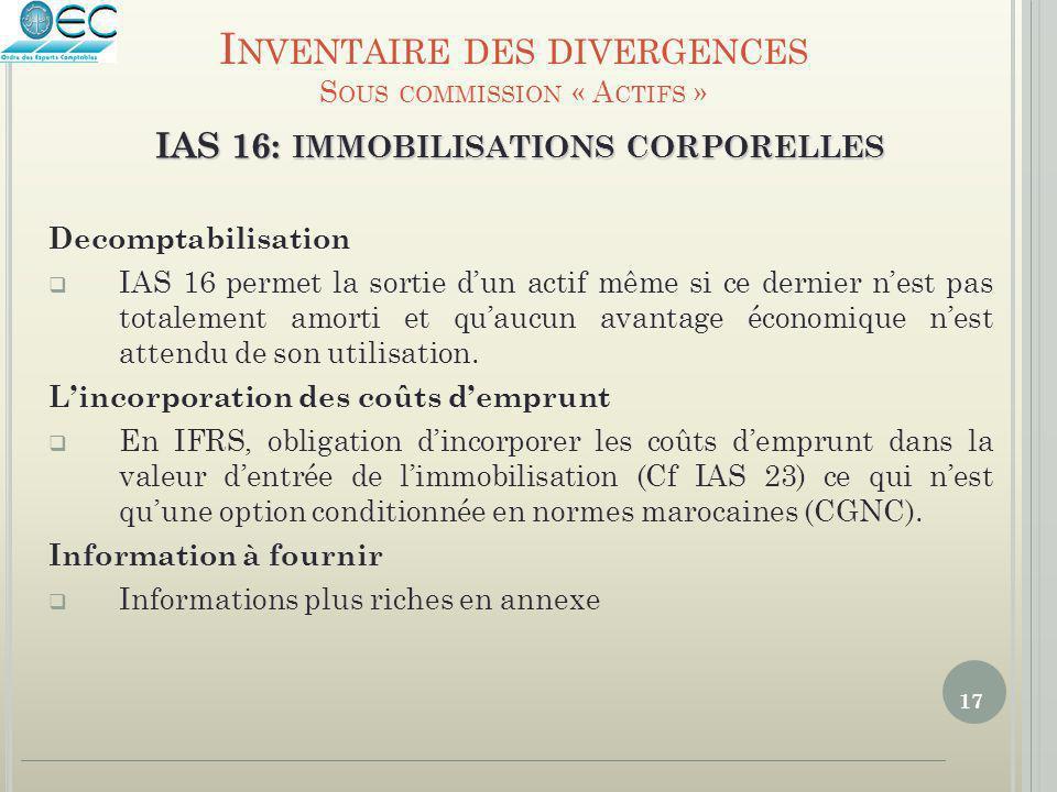 17 IAS 16: IMMOBILISATIONS CORPORELLES Decomptabilisation  IAS 16 permet la sortie d'un actif même si ce dernier n'est pas totalement amorti et qu'au