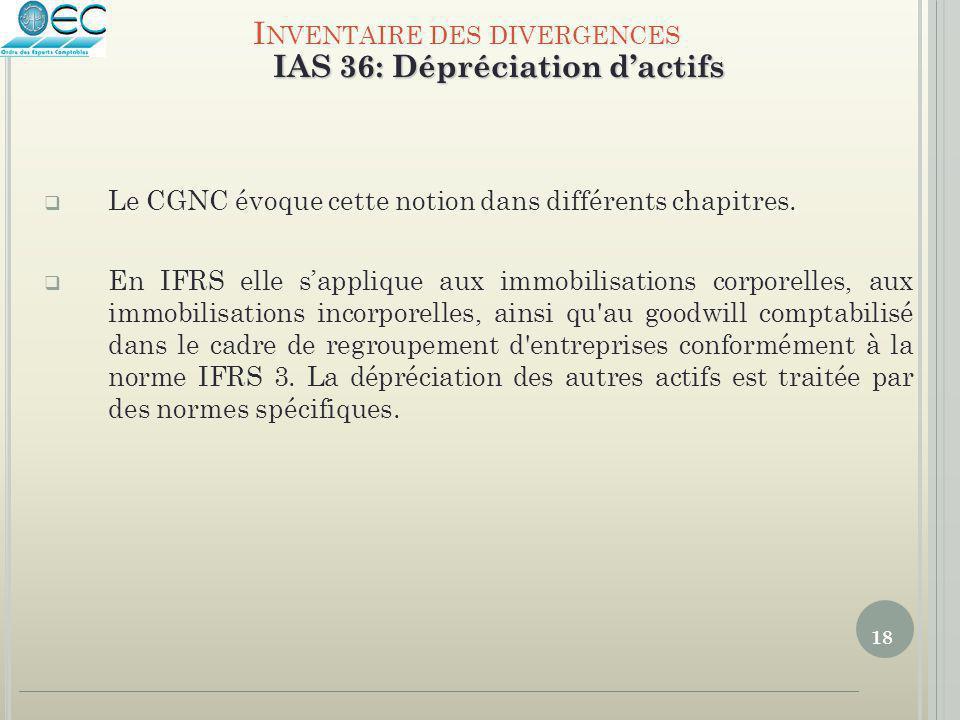 18  Le CGNC évoque cette notion dans différents chapitres.  En IFRS elle s'applique aux immobilisations corporelles, aux immobilisations incorporell