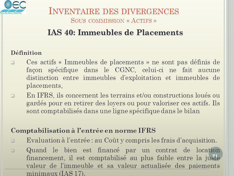 21 IAS 40: Immeubles de Placements Définition  Ces actifs « Immeubles de placements » ne sont pas définis de façon spécifique dans le CGNC, celui-ci