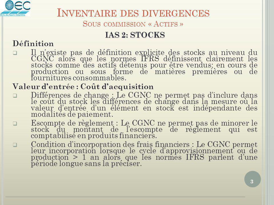 3 IAS 2: STOCKS Définition  Il n'existe pas de définition explicite des stocks au niveau du CGNC alors que les normes IFRS définissent clairement les