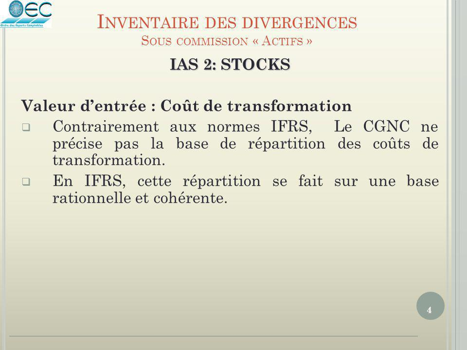 4 IAS 2: STOCKS Valeur d'entrée : Coût de transformation  Contrairement aux normes IFRS, Le CGNC ne précise pas la base de répartition des coûts de t