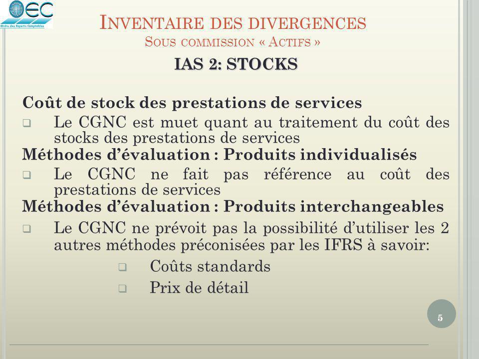 5 IAS 2: STOCKS Coût de stock des prestations de services  Le CGNC est muet quant au traitement du coût des stocks des prestations de services Méthod