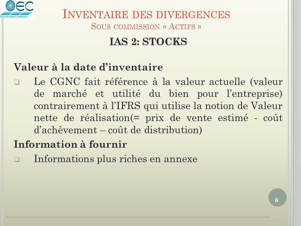 6 IAS 2: STOCKS Valeur à la date d'inventaire  Le CGNC fait référence à la valeur actuelle (valeur de marché et utilité du bien pour l'entreprise) co