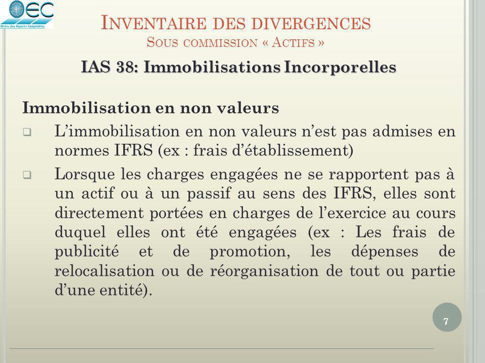 7 IAS 38: Immobilisations Incorporelles Immobilisation en non valeurs  L'immobilisation en non valeurs n'est pas admises en normes IFRS (ex : frais d