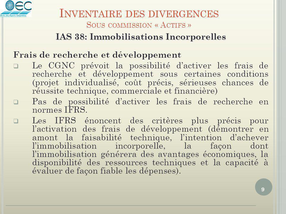 9 IAS 38: Immobilisations Incorporelles Frais de recherche et développement  Le CGNC prévoit la possibilité d'activer les frais de recherche et dével