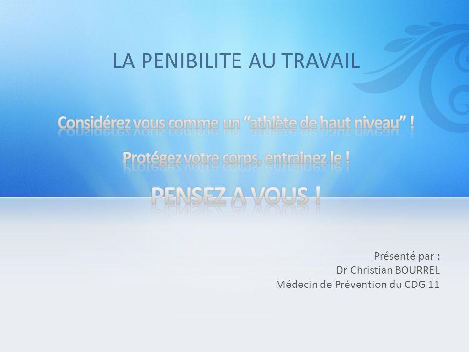 Présenté par : Dr Christian BOURREL Médecin de Prévention du CDG 11 LA PENIBILITE AU TRAVAIL