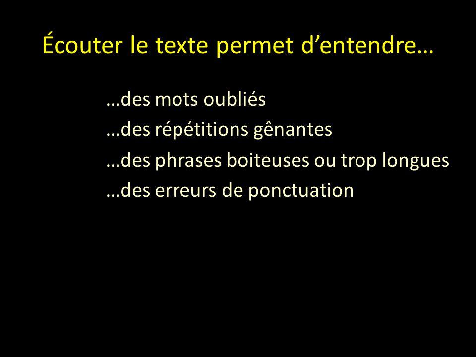 Écouter le texte permet d'entendre… …des mots oubliés …des répétitions gênantes …des phrases boiteuses ou trop longues …des erreurs de ponctuation