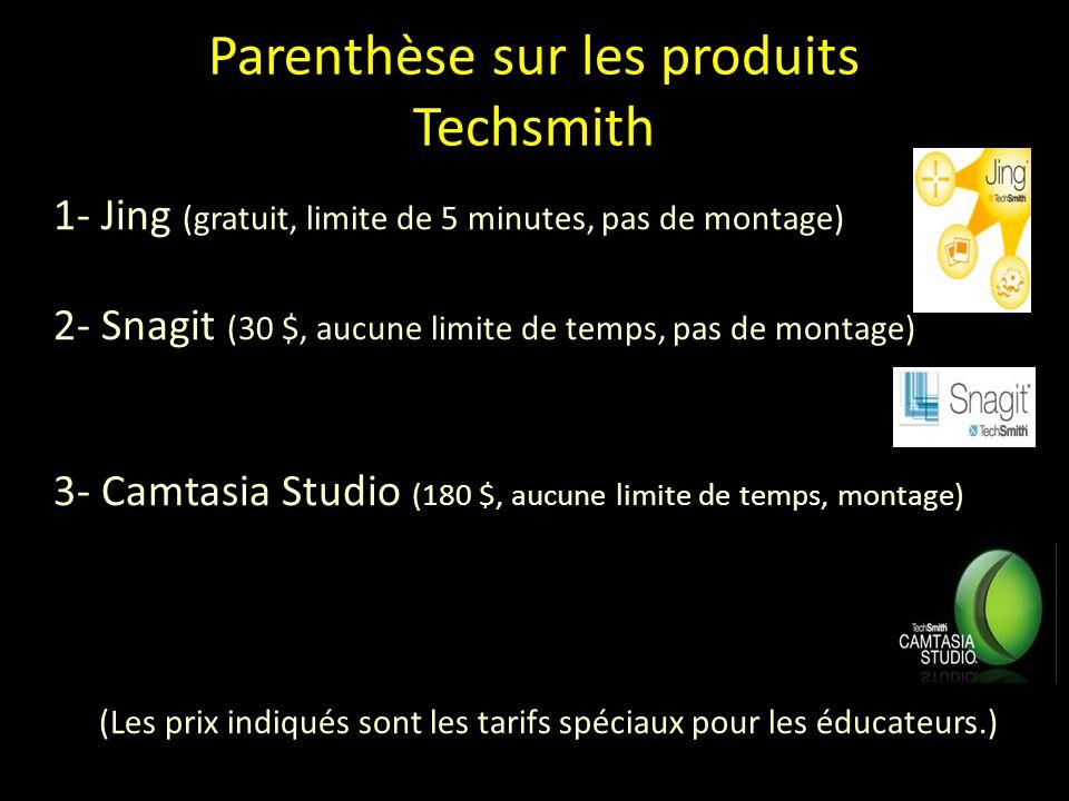 Parenthèse sur les produits Techsmith 1- Jing (gratuit, limite de 5 minutes, pas de montage) 2- Snagit (30 $, aucune limite de temps, pas de montage) 3- Camtasia Studio (180 $, aucune limite de temps, montage) (Les prix indiqués sont les tarifs spéciaux pour les éducateurs.)