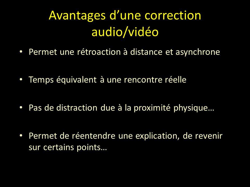 Avantages d'une correction audio/vidéo Permet une rétroaction à distance et asynchrone Temps équivalent à une rencontre réelle Pas de distraction due à la proximité physique… Permet de réentendre une explication, de revenir sur certains points…