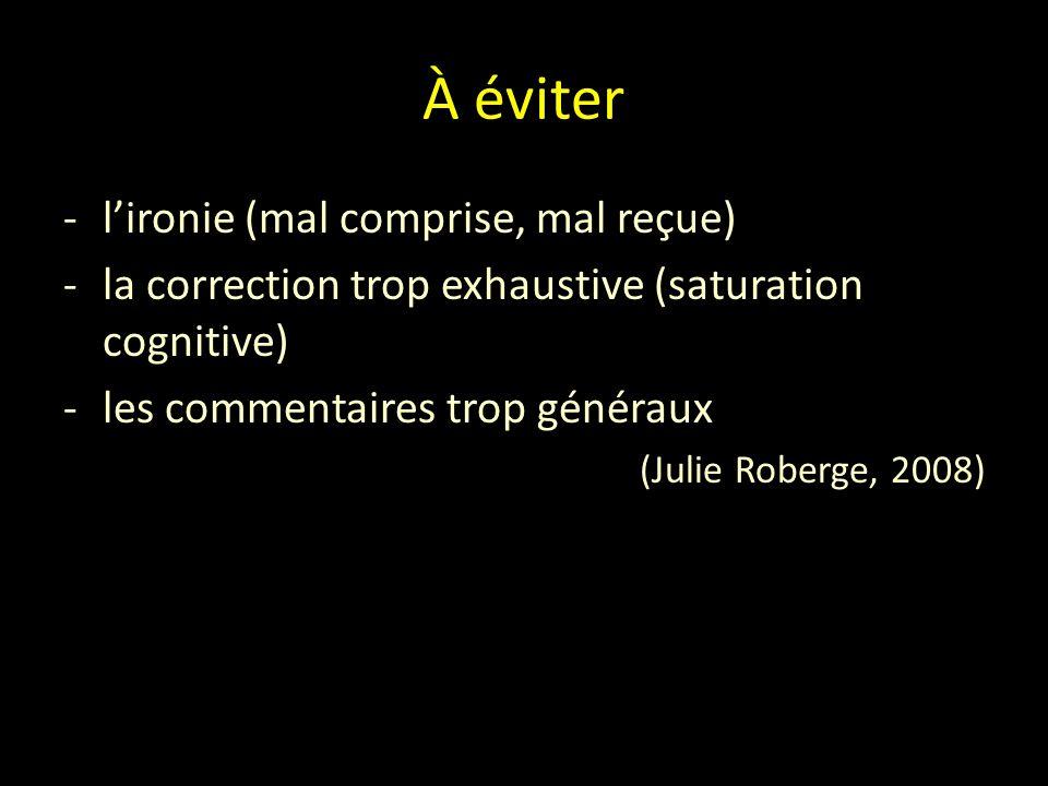 À éviter -l'ironie (mal comprise, mal reçue) -la correction trop exhaustive (saturation cognitive) -les commentaires trop généraux (Julie Roberge, 2008)