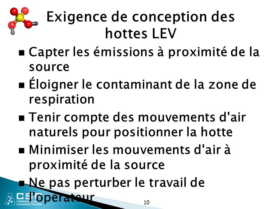 10 Exigence de conception des hottes LEV Capter les émissions à proximité de la source Éloigner le contaminant de la zone de respiration Tenir compte