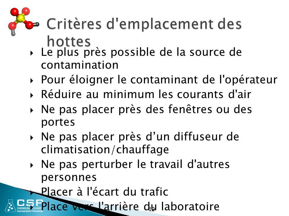 12 Critères d'emplacement des hottes  Le plus près possible de la source de contamination  Pour éloigner le contaminant de l'opérateur  Réduire au