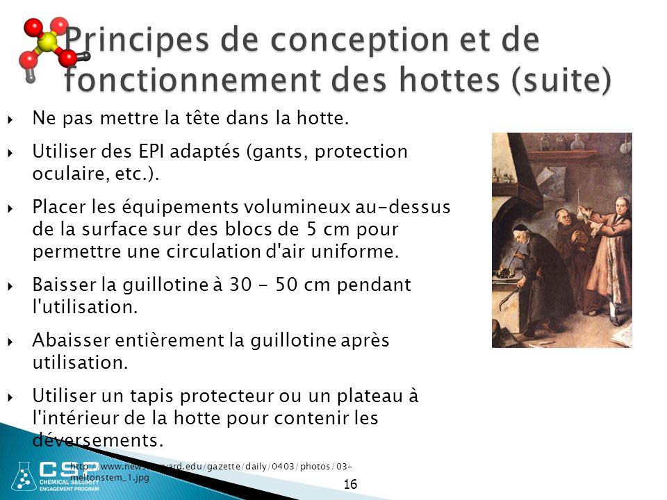16 Principes de conception et de fonctionnement des hottes (suite)  Ne pas mettre la tête dans la hotte.  Utiliser des EPI adaptés (gants, protectio
