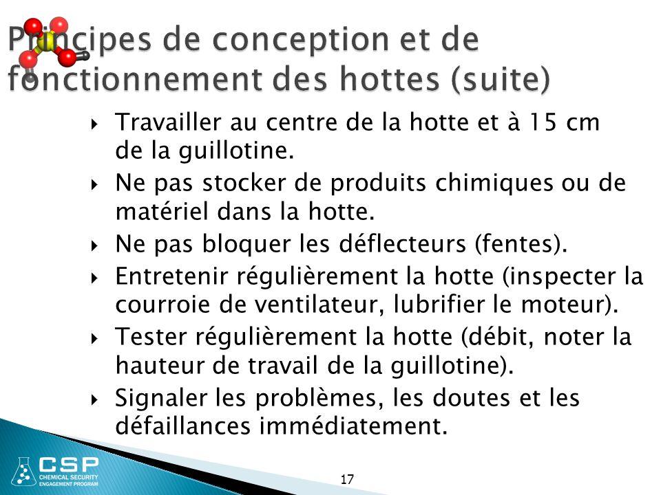 17 Principes de conception et de fonctionnement des hottes (suite)  Travailler au centre de la hotte et à 15 cm de la guillotine.  Ne pas stocker de