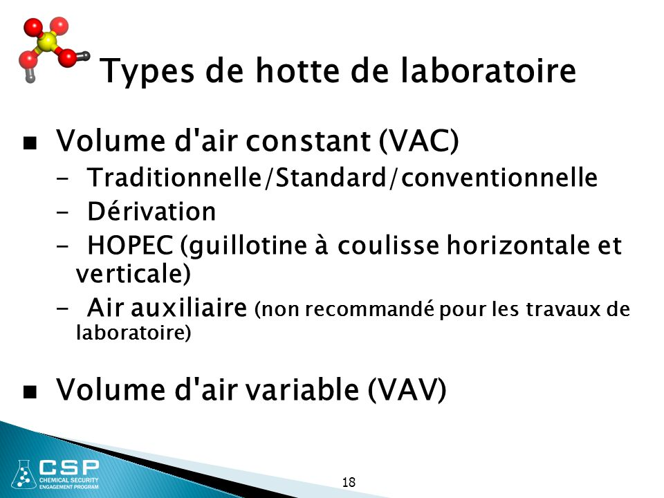 18 Types de hotte de laboratoire Volume d'air constant (VAC) - Traditionnelle/Standard/conventionnelle - Dérivation - HOPEC (guillotine à coulisse hor