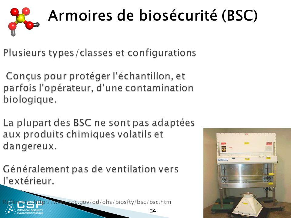 34 Plusieurs types/classes et configurations Conçus pour protéger l'échantillon, et parfois l'opérateur, d'une contamination biologique. La plupart de