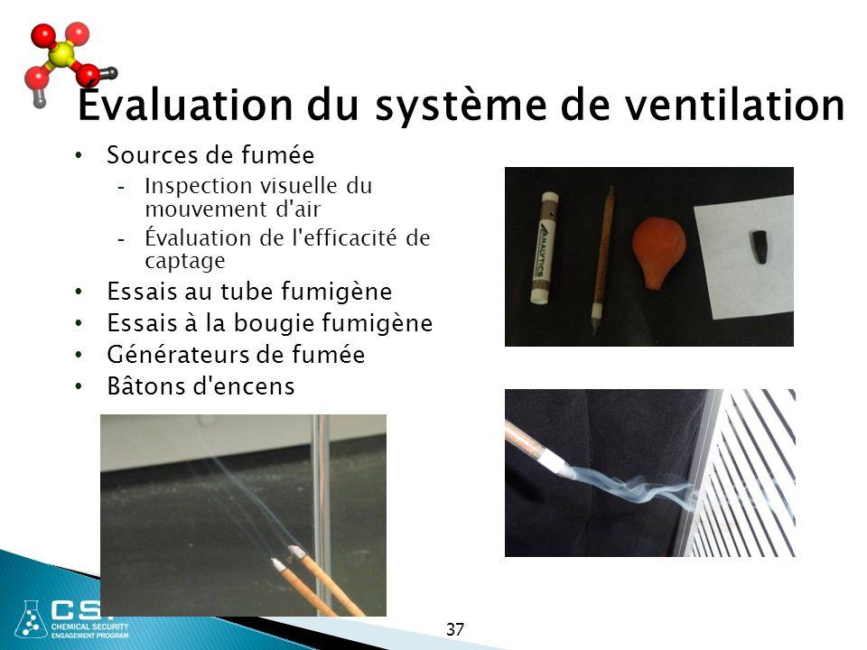 37 Évaluation du système de ventilation Sources de fumée - Inspection visuelle du mouvement d'air - Évaluation de l'efficacité de captage Essais au tu