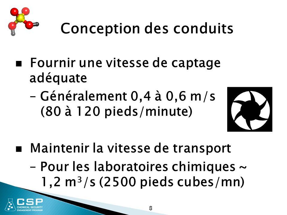 8 Conception des conduits Fournir une vitesse de captage adéquate – Généralement 0,4 à 0,6 m/s (80 à 120 pieds/minute) Maintenir la vitesse de transpo