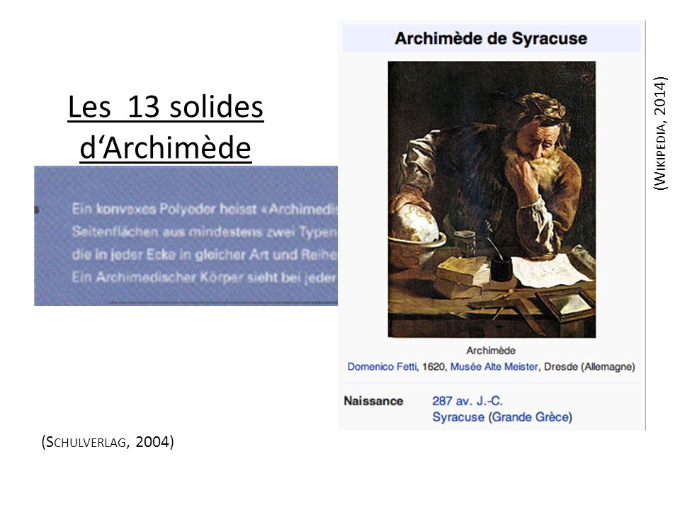 Les 13 solides d'Archimède (S CHULVERLAG, 2004) (W IKIPEDIA, 2014)