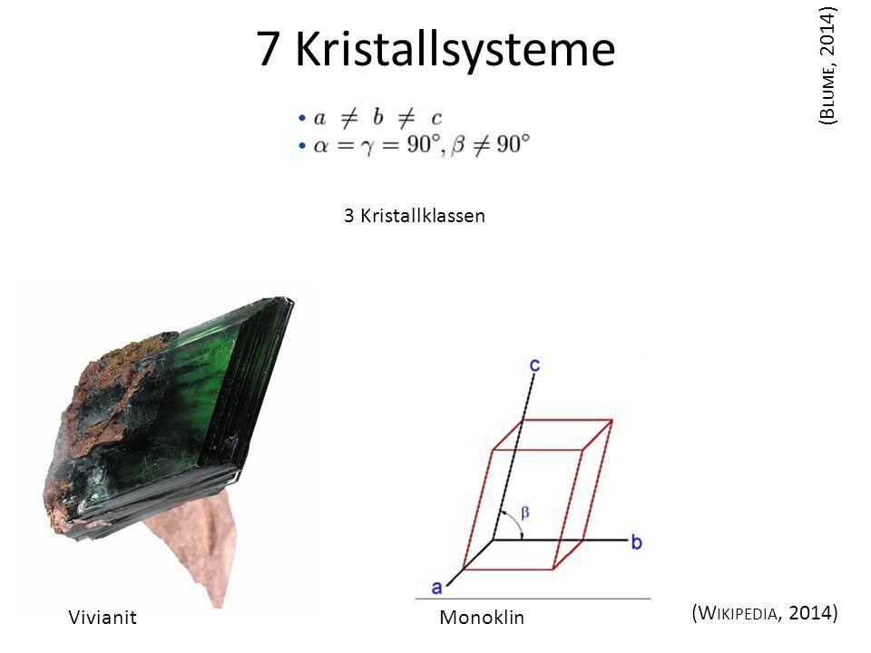 7 Kristallsysteme Monoklin (B LUME, 2014) (W IKIPEDIA, 2014) Vivianit 3 Kristallklassen