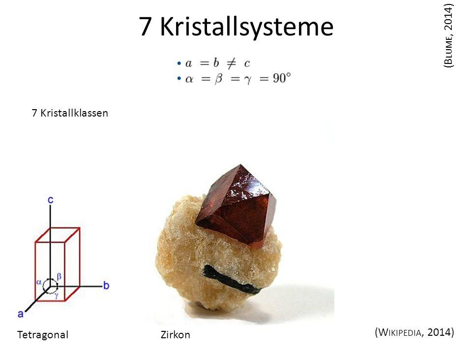 7 Kristallsysteme Tetragonal (B LUME, 2014) (W IKIPEDIA, 2014) 7 Kristallklassen Zirkon
