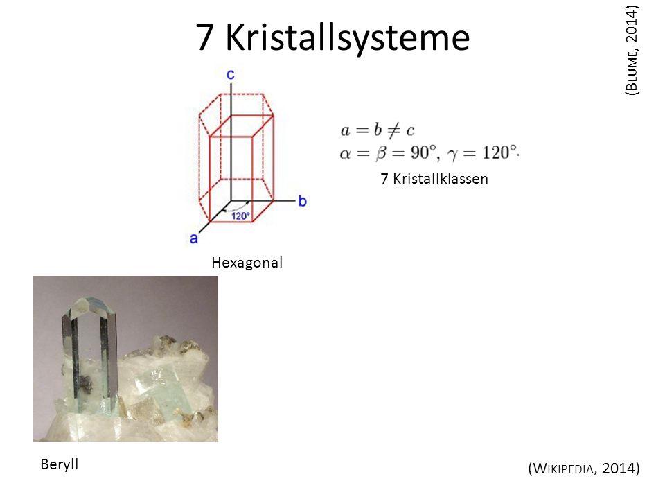 Hexagonal 7 Kristallsysteme (B LUME, 2014) Beryll (W IKIPEDIA, 2014) 7 Kristallklassen