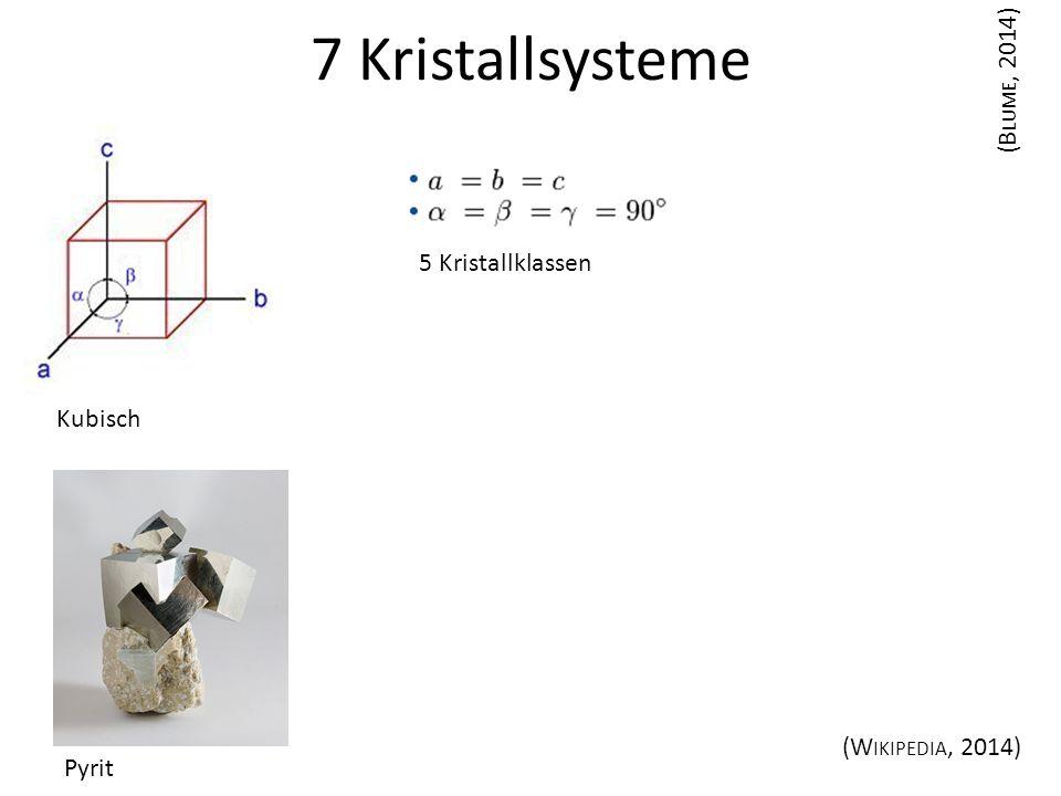 Kubisch 7 Kristallsysteme (B LUME, 2014) (W IKIPEDIA, 2014) Pyrit 5 Kristallklassen