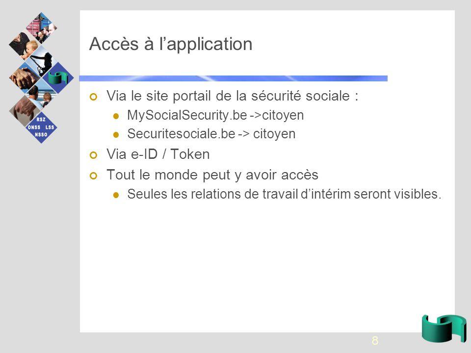 Accès à l'application Via le site portail de la sécurité sociale : MySocialSecurity.be ->citoyen Securitesociale.be -> citoyen Via e-ID / Token Tout le monde peut y avoir accès Seules les relations de travail d'intérim seront visibles.