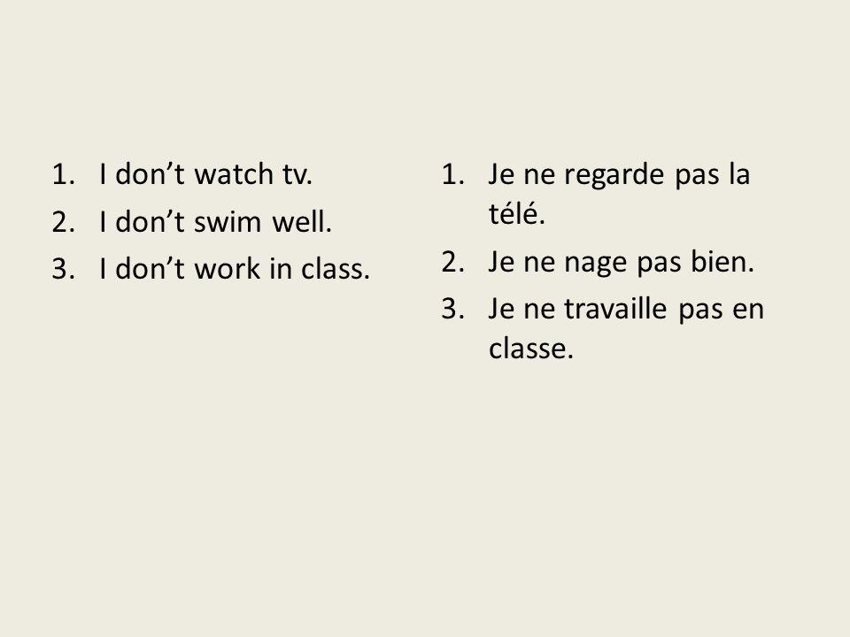 Quiz unit 3 1.Je ___regarde_____ la télé. (regarder) 2.Nous __nageons______ en été. (nager) 3.Elles __travaillent_________ à McDonalds. (travailler) 4