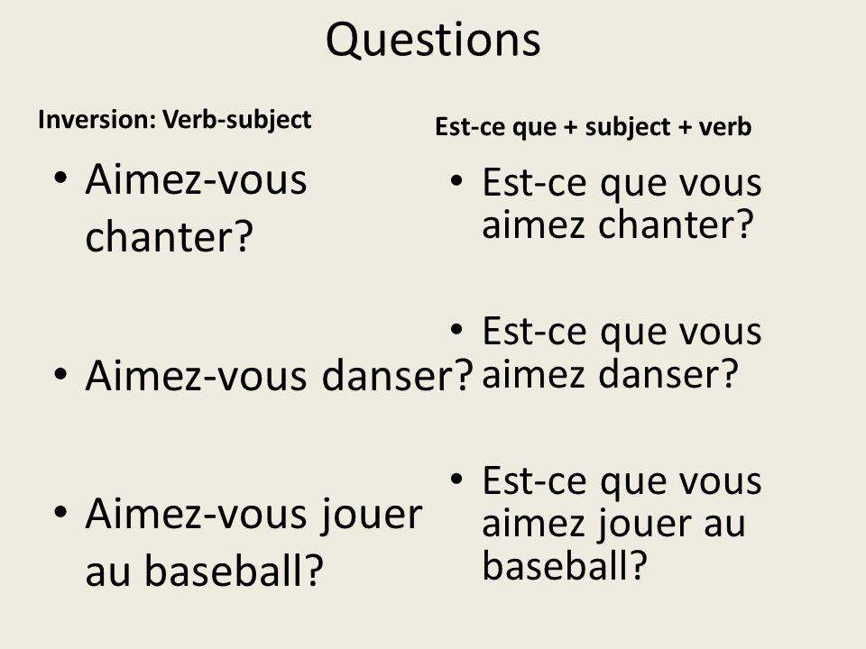 Questions Inversion: Verb-subject Aimez-vous chanter.