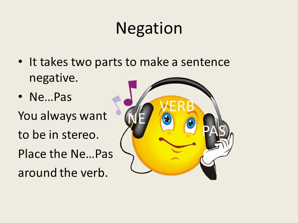 Negation It takes two parts to make a sentence negative.