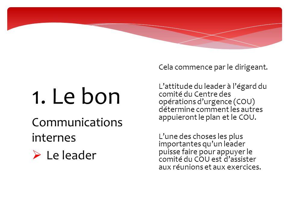 Communications internes  Le leader 1. Le bon  Cela commence par le dirigeant.