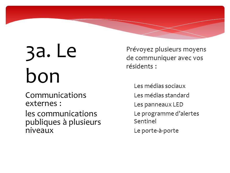 Communications externes : les communications publiques à plusieurs niveaux 3a. Le bon  Prévoyez plusieurs moyens de communiquer avec vos résidents :