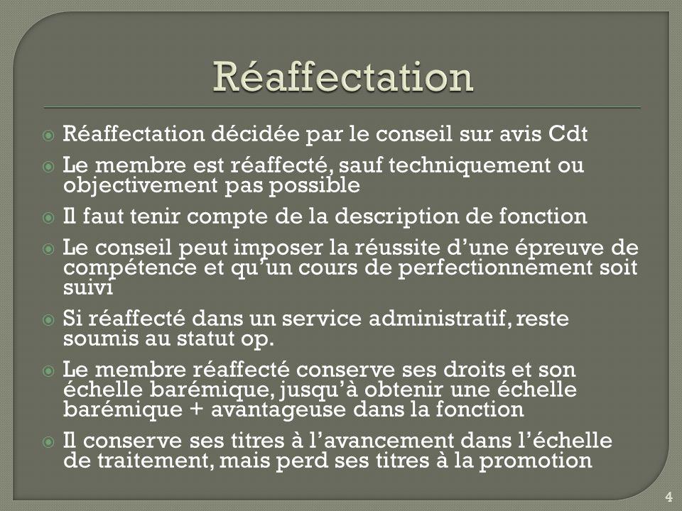  Réaffectation décidée par le conseil sur avis Cdt  Le membre est réaffecté, sauf techniquement ou objectivement pas possible  Il faut tenir compte