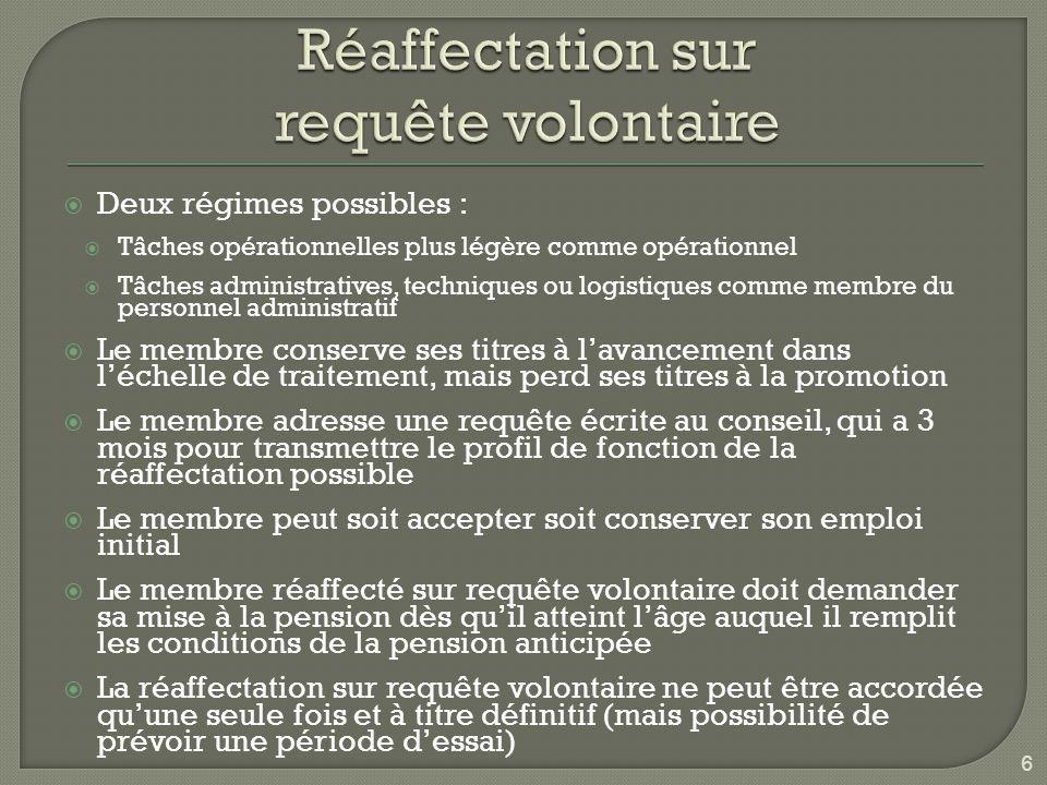 Conditions :  Être âgé d'au moins : 58 ans si régime de fin de carrière débute en 2016 ou + 57,5 ans si régime de fin de carrière débute en 2015  Compter au – 25 années de service dans le secteur public  À la fin du régime de fin de carrière, ayant une durée maximale de 4 ans, satisfaire aux conditions pour répondre à la pension anticipée (loi 15/05/84)  Le conseil détermine, après avis de la commission de fin de carrière, une fonction allégée, adaptée (le membre est tenu d'accepter ou de garder sa fonction).