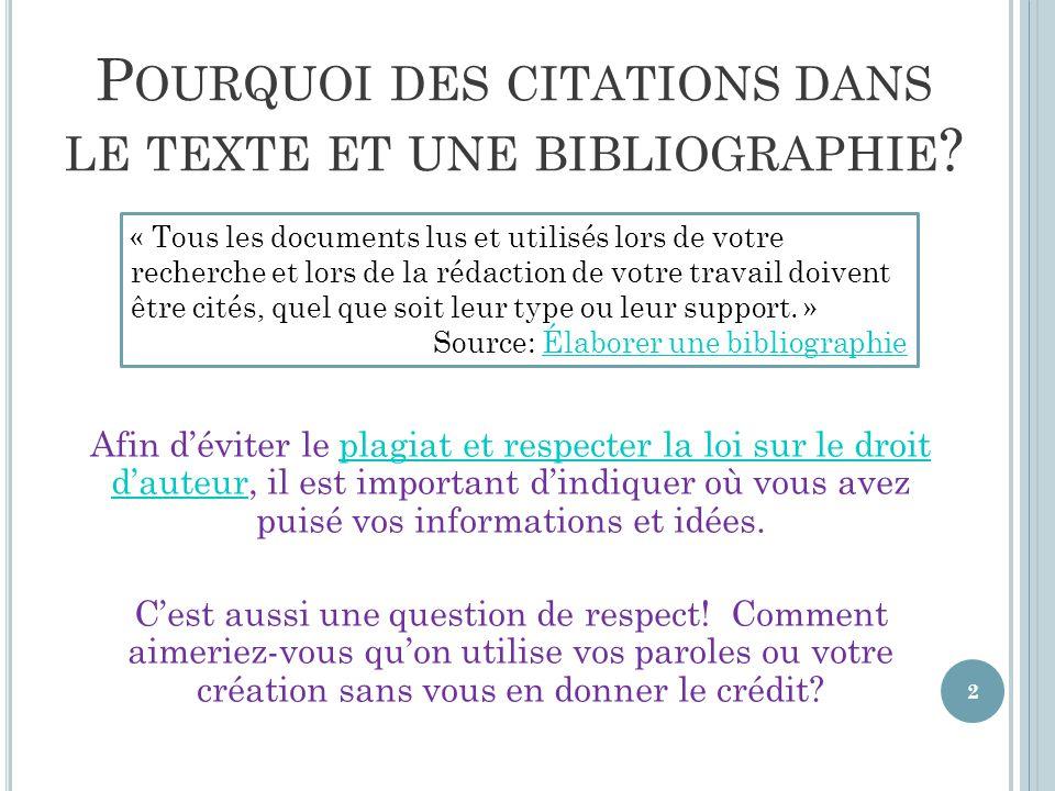 Il existe plusieurs types et sous-types de bibliographies, mais les deux types ci-haut sont les plus communs dans le contexte académique.