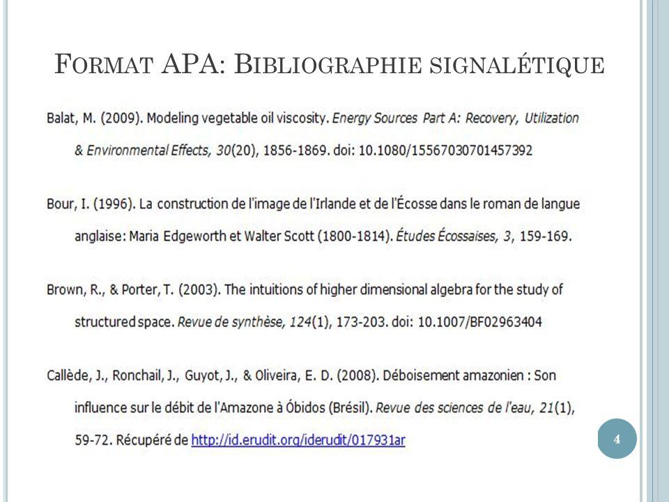 F ORMAT APA: B IBLIOGRAPHIE SIGNALÉTIQUE 4