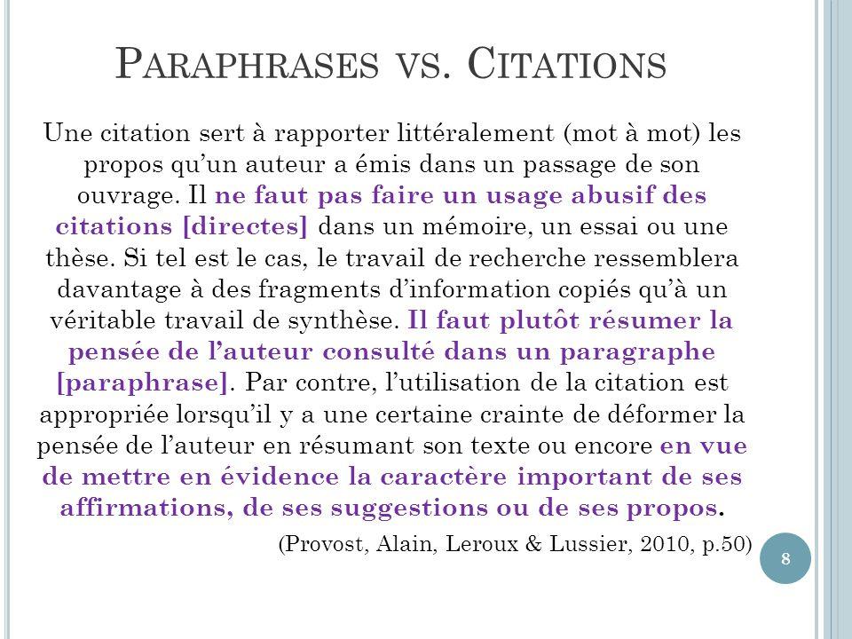 C ITATIONS DIRECTES DANS LE TEXTE On doit inclure dans son texte le nom de l'auteur, la date de publication, et la page où se trouve la citation.