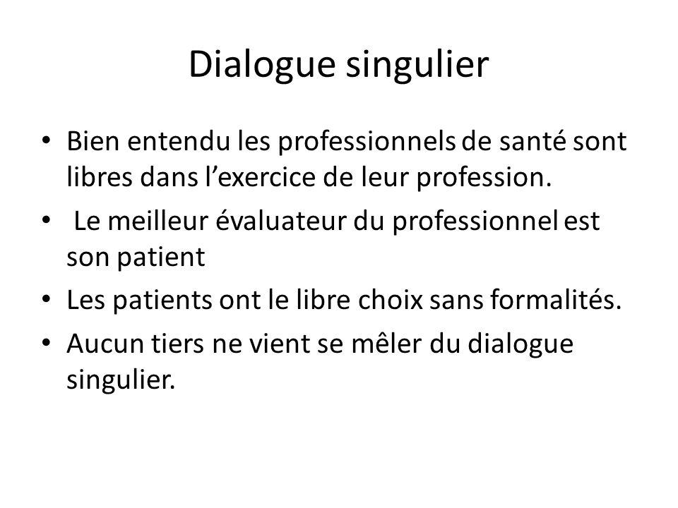 Dialogue singulier Bien entendu les professionnels de santé sont libres dans l'exercice de leur profession.
