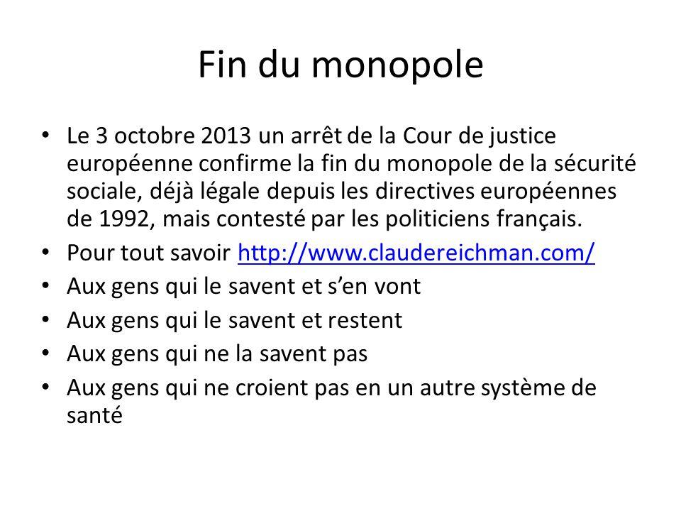 Fin du monopole Le 3 octobre 2013 un arrêt de la Cour de justice européenne confirme la fin du monopole de la sécurité sociale, déjà légale depuis les directives européennes de 1992, mais contesté par les politiciens français.