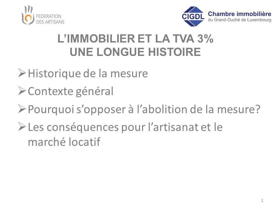 L'IMMOBILIER ET LA TVA 3% UNE LONGUE HISTOIRE  Historique de la mesure  Contexte général  Pourquoi s'opposer à l'abolition de la mesure?  Les cons