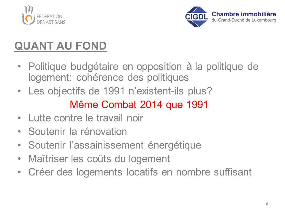 QUANT AU FOND Politique budgétaire en opposition à la politique de logement: cohérence des politiques Les objectifs de 1991 n'existent-ils plus.