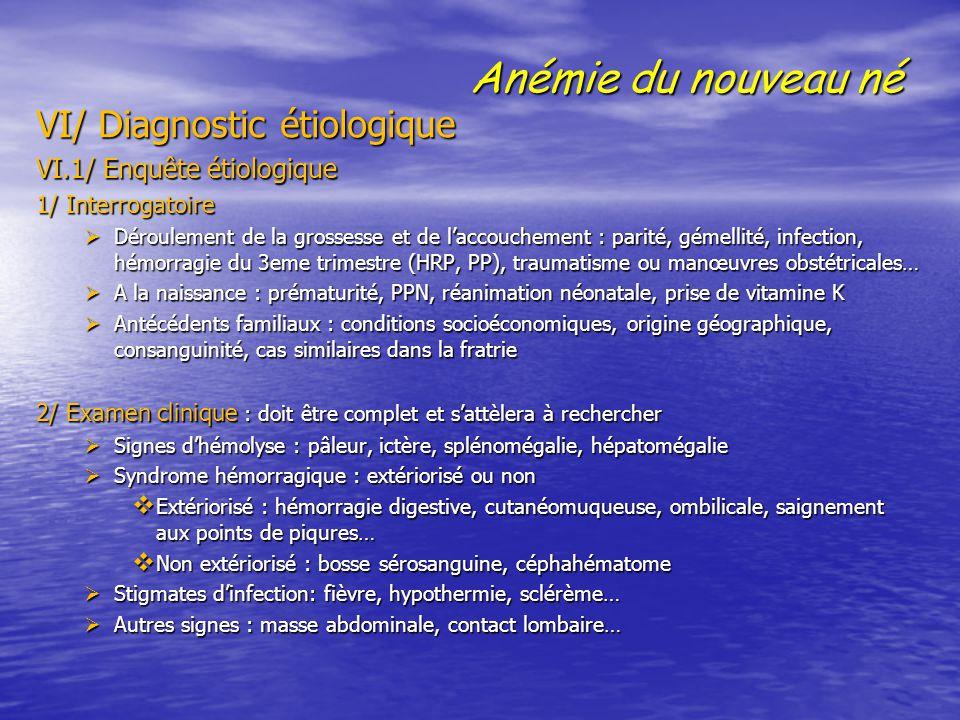 Anémie du nouveau né VI/ Diagnostic étiologique VI/ Diagnostic étiologique VI.1/ Enquête étiologique VI.1/ Enquête étiologique 1/ Interrogatoire 1/ In