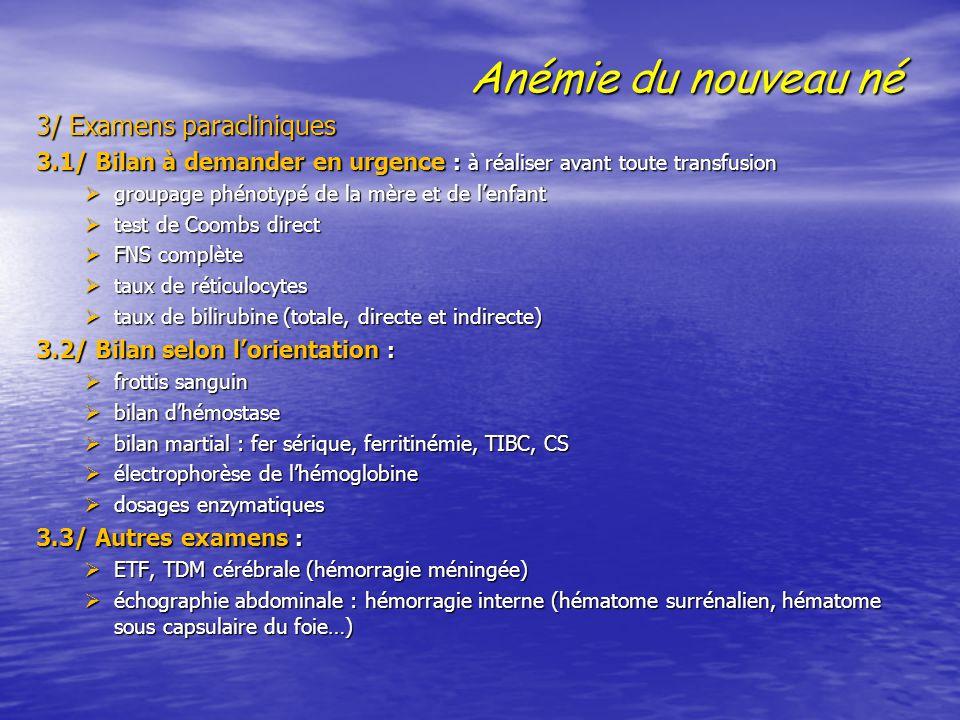 Anémie du nouveau né 3/ Examens paracliniques 3/ Examens paracliniques 3.1/ Bilan à demander en urgence : à réaliser avant toute transfusion  groupag