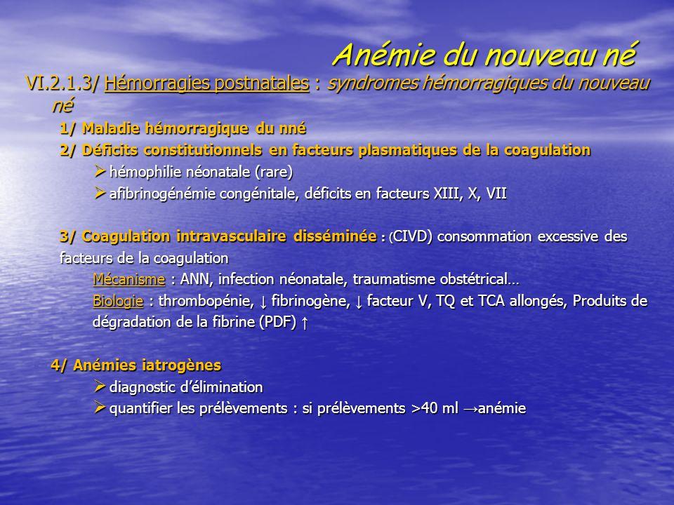 Anémie du nouveau né VI.2.1.3/ Hémorragies postnatales : syndromes hémorragiques du nouveau né 1/ Maladie hémorragique du nné 2/ Déficits constitution