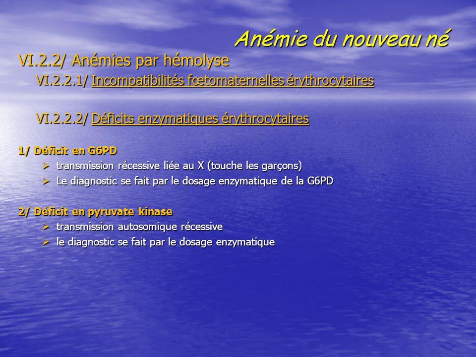 Anémie du nouveau né VI.2.2/ Anémies par hémolyse VI.2.2.1/ Incompatibilités fœtomaternelles érythrocytaires VI.2.2.1/ Incompatibilités fœtomaternelle