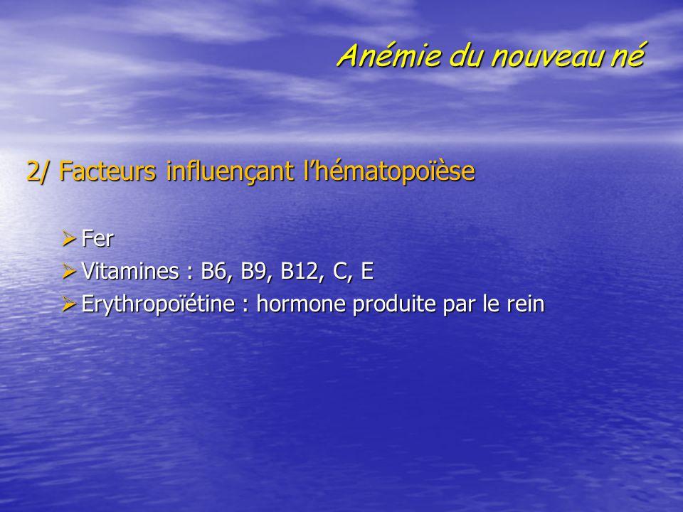 Anémie du nouveau né 2/ Facteurs influençant l'hématopoïèse 2/ Facteurs influençant l'hématopoïèse  Fer  Vitamines : B6, B9, B12, C, E  Erythropoïé